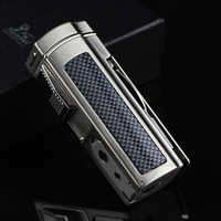 LUBINSKI Gadgets For Men Refillable Butane Gas Cigar Lighter Metal Table 4 Torch Jet Cigarette Lighters With Cigar Cutter Punch