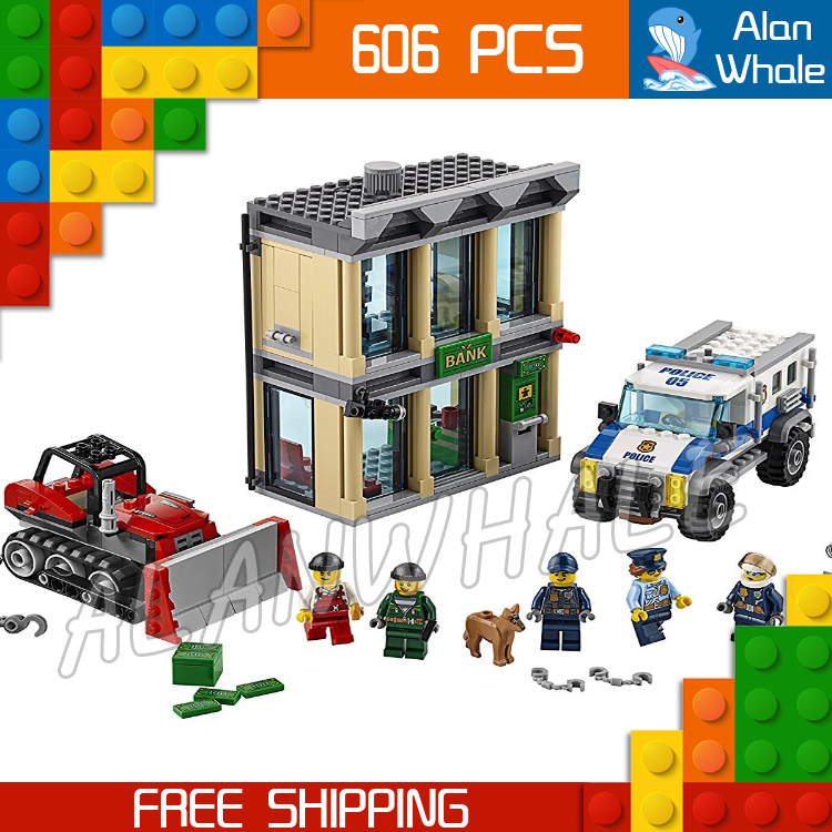 606pcs City Police Bulldozer Break-In Model Building Blocks 02019 Assemble Bricks Children Toys Station Compatible With Lego 774pcs city deep sea explorers 02012 model exploration vessel building blocks bricks children toys ship kit compatible with lego