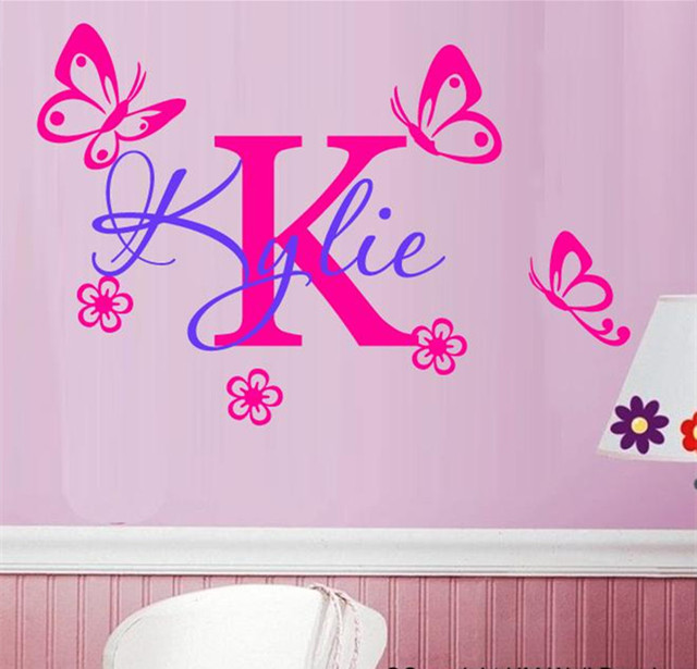 Customized name diy kids room decor vinyl sticker removable personality letter name butteryfly decals for girls