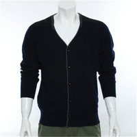 100%goat cashmere knit men new fashion Vneck single breasted cardigan sweater spliced elbow dark grey 2color S 2XL