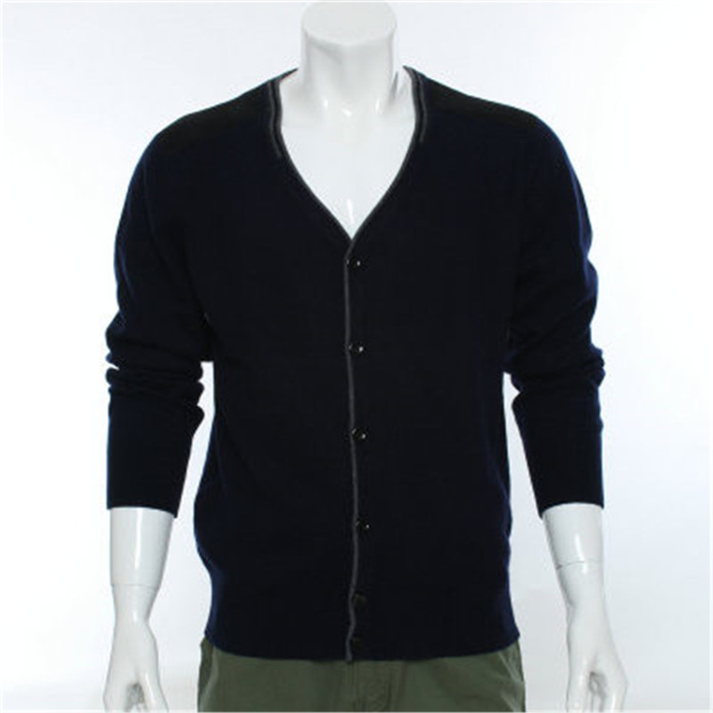 100%goat Cashmere Knit Men New Fashion Vneck Single Breasted Cardigan Sweater Spliced Elbow Dark Grey 2color S-2XL