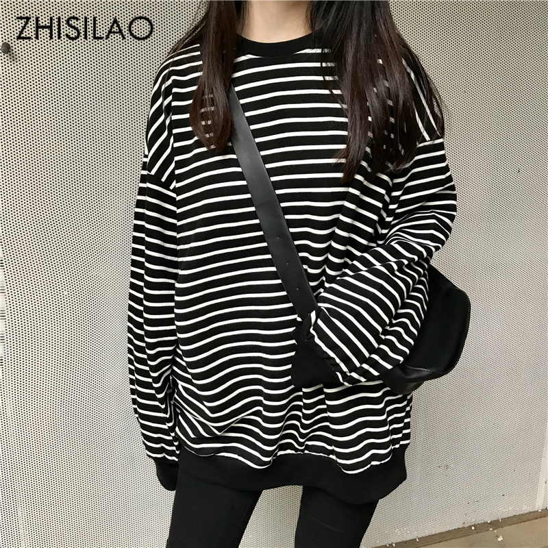 ZHISILAO 2018 Spring Woman Sweatershirt Woman Hoodies Stripe Harajuku Hoodie Pullovers Hoodies Oversize Sweatershirt Casual Chic
