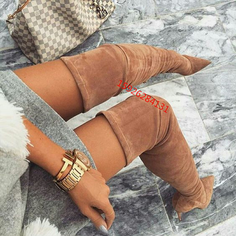 2018 New Slim Stretch Leather Brown Suede Thigh High Boots Stiletto High Heels Pointed Toe Over The Knee Women Boots Shoes Woman high heel real leather pointy suede slim thigh women boots stretch velvet over the knee sexy extreme stiletto shoes sheepskin