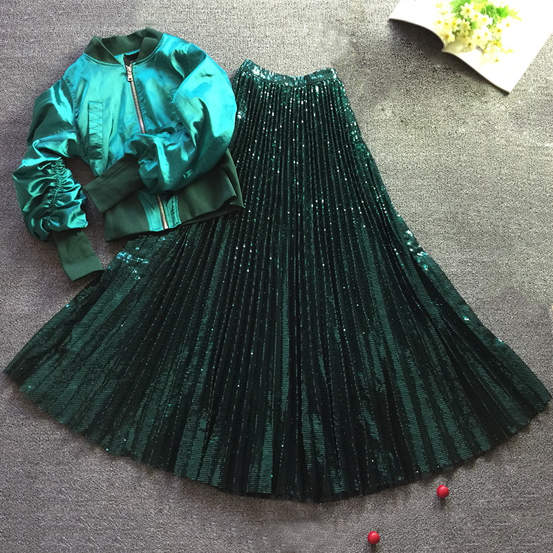 2019 New Women Shiny Sequin Tulle Pleated Skirt Ankle-Length Vintage High Waist A-Line Dark Green Skirts Female Fashion Jupe