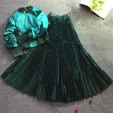 2020 nowych kobiet błyszczące cekiny Tulle plisowana spódnica kostek Vintage wysokiej talii linii ciemne zielone spódnice kobiece moda Jupe