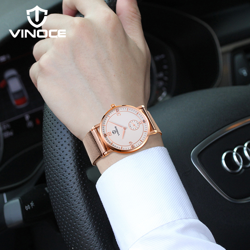 VINOCE Ultra Thin Mens Watches Top Brand Luxury Rose Gold Stainless Steel Watch Relogio Masculino 2018 Men Quartz Watch #V6275GT mens watches top brand luxury gold tungsten steel men ultra thin wristwatch auto date quartz watch relogio masculino new