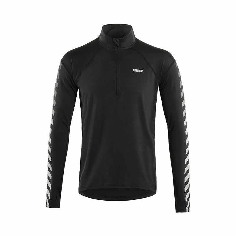 Arsuxeo Reflektif Panjang Lengan Olahraga Kemeja Pria Menjalankan Kemeja dengan Setengah Ritsleting Tipis Outdoor Dry Fit Jersey Kebugaran Gym Tshirt