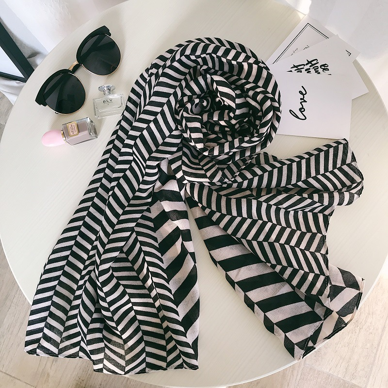 women black white geometric pattern head scarfs for ladies office autumn spring chic ins style long designer   scarf     wraps