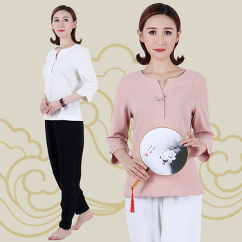 Women Traditional Chinese Kung Fu Costume Taiji Martial Arts Uniform Suits Solid Long Sleeve Chinese Clothes Tops Pants