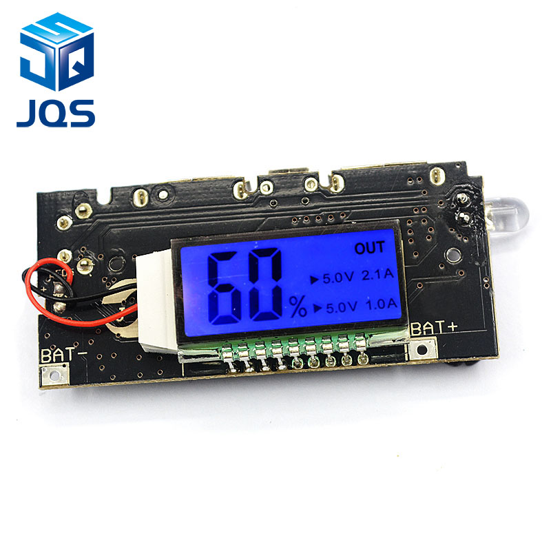 Automatic Protection! Dual <font><b>USB</b></font> <font><b>5V</b></font> 1A 2.1A Mobile Power Bank 18650 Lithium Battery Charger Board Digital LCD Charging Module image