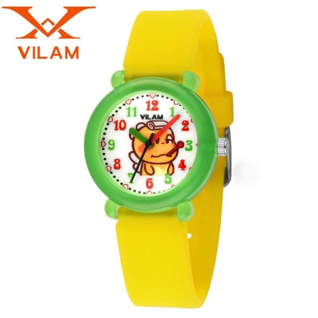 VILAM Children Fashion Cute Cartoon Quartz Watches Health Silicone Strap Safe PC Plastic Wristwatch Gift Free Ship
