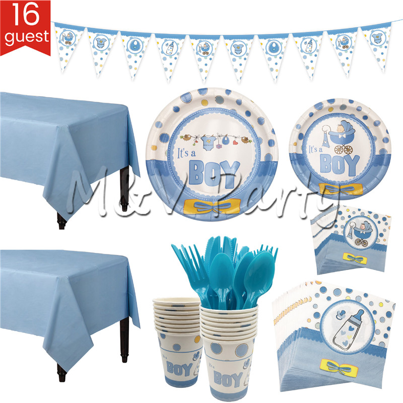 124pcs/lot Blue Baby Boy Birthday Party Disposable Tableware Set Paper Plates Cup Flag Set Baby Born Party Decoration Supplies