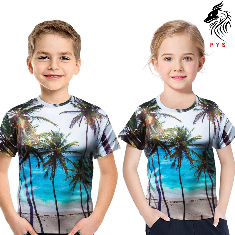Girls T-Shirt Short-Sleeve Boys Kids Children 3D Holiday for Top Tees Clothing 2-13Y