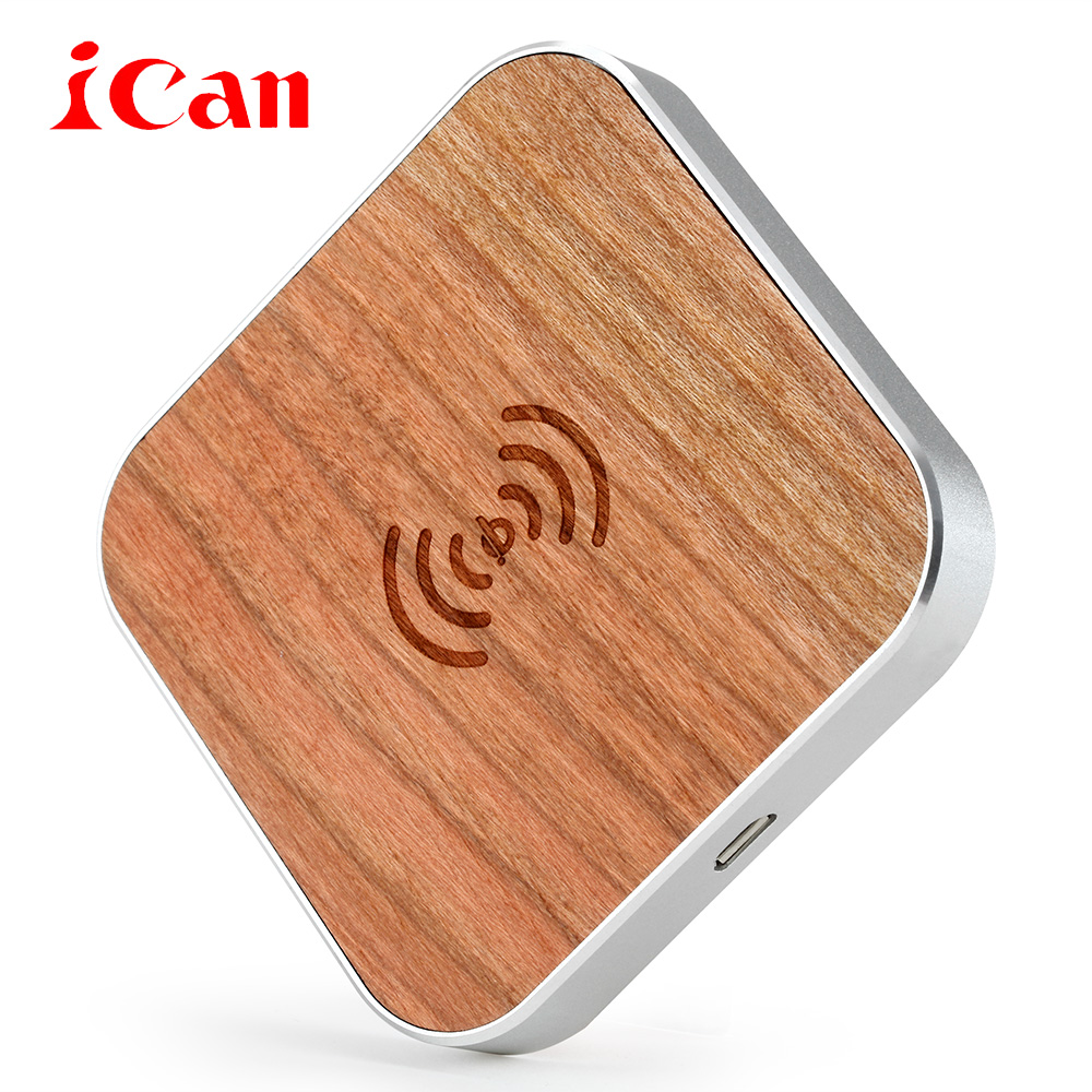 Ican Bamboo Wood Portable Qi Wireless Charger Fast