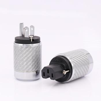 Free shipping Carbon Fiber US Mains Power Plug IEC Plug Rhodium Plated Connector hifi