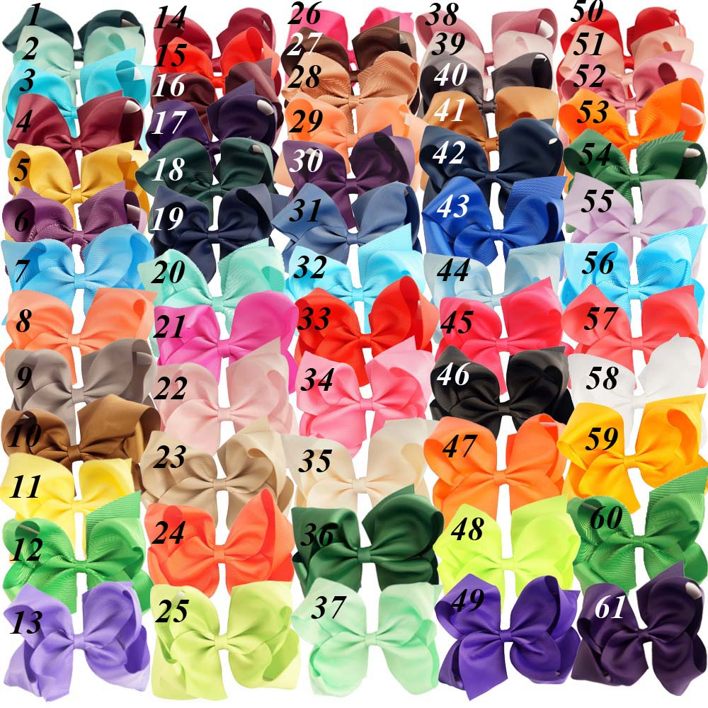 32 Pcs/lot 6 Fashion Handmade Solid Grosgrain Ribbon Hair Bow For Kids Girls Boutique Hair Accessories Hairgrips 10pcs lot high quality hair band with grosgrain ribbon flower for girls handmade flower hairbow hairband kids hair accessories