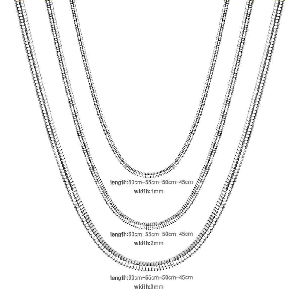 Luxusteel Chuẩn Loài Rắn Dây Chuyền Vòng Cổ Dây Thép Không Gỉ Mạ Vàng/Bạc Đầy Tôm Hùm Khóa Vòng Cổ Cho Mặt Dây Chuyền BIJOUX