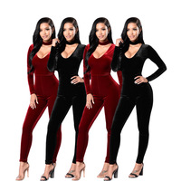 Women Velvet Bodysuit Overall Black Red Playsuit Long Sleeve Long Pants Elegant Winter Jumpsuits Rompers Sexy Bodies Spandex New