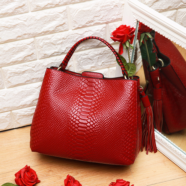 Piccola borsa a tracolla per le donne borse a tracolla delle signore retro del cuoio genuino della borsa della borsa con nappe femminile crossbody bag - 4
