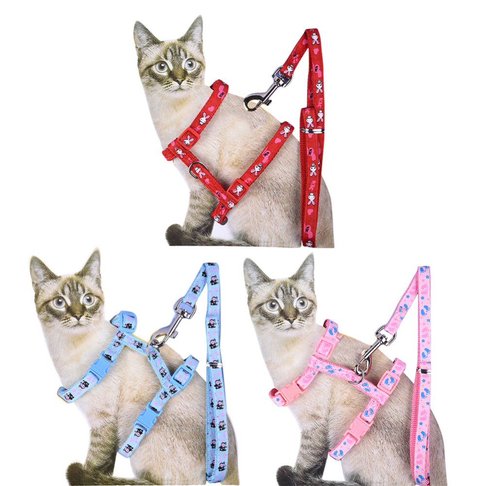 Adjustable Figure H Cat Harness Pet Harnesses Cat Leash Cat Traction Rope 3 colors Pet supplies