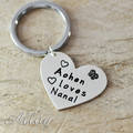 Alloy keychain,Custom fashion heart keychain,engraved name tag best gift
