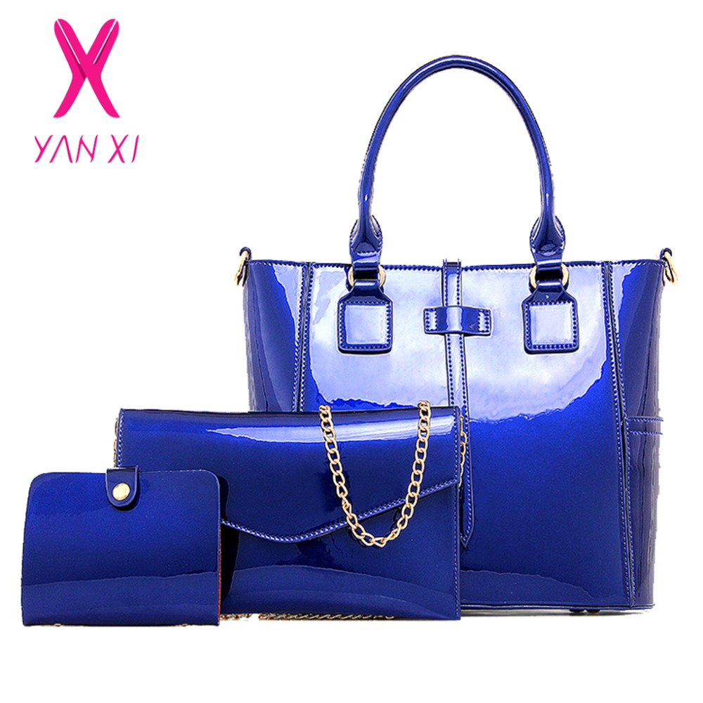 Yanxi New Online Fashion Lady Shoulder Tote Designer Blue Handbag Patent Leather Women Quality Composite Bag Clutches In Top Handle Bags From