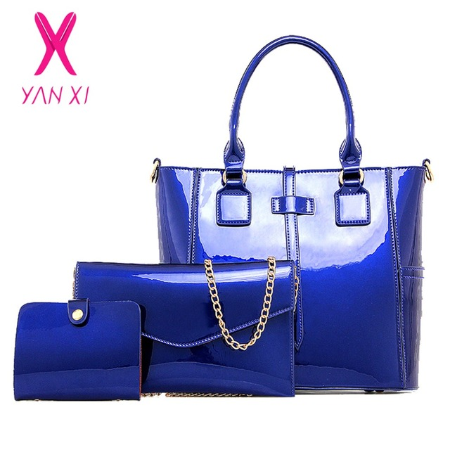YANXI New Shop Online Fashion Lady Shoulder Tote Designer Blue Handbag  Patent Leather Women Quality Composite Women Bag Clutches f3aa5c577b183