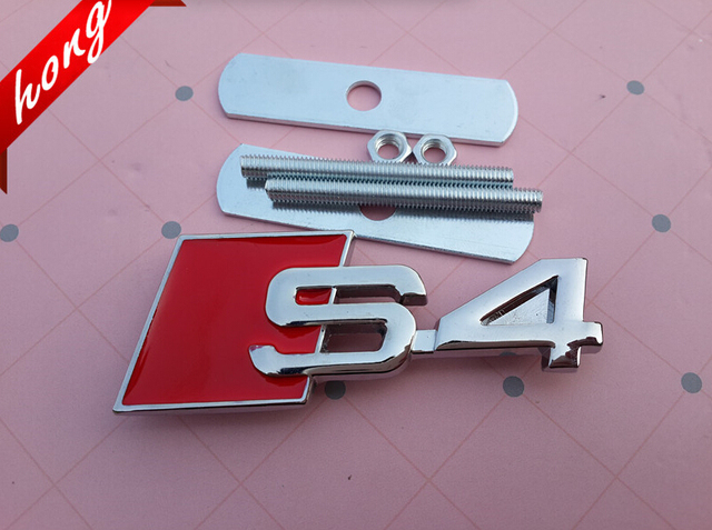 US $41 49 |10pcs High quality 3D C4 B5 B6 B7 S4 Meta B8l Chrome Auto  Accessories car Grill emblem logo Front Grille badge stickers styling on