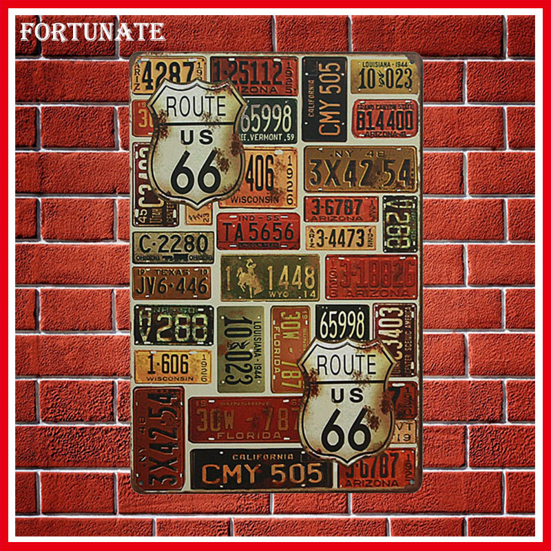 Hot Route 66 City Number Vintage Metal Signs Home Decor Vintage Tin Signs Pub Vintage Decorative Plates Metal Wall Art Plaques