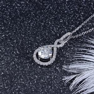 Image 4 - Transgems 14 k ouro branco 585 6.5mm 1 quilates f cor corações e setas moissanite halo pingente colar para casamento feminino