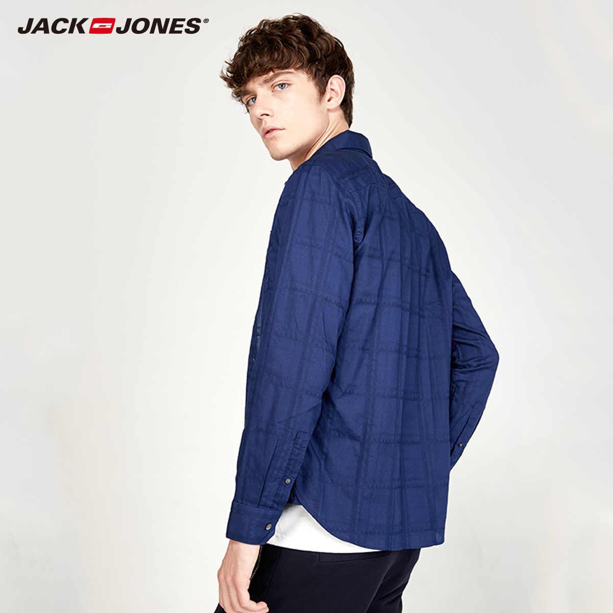 ジャック · ジョーンズ新 COTTON100 % スリムラペルシンプルなカフ長袖シャツ男性   216305568