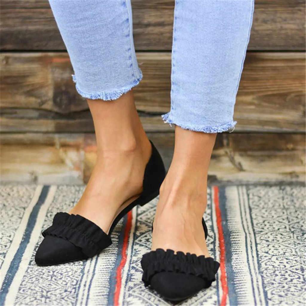 Slip On Công Sở Mùa Hè Sandals Nữ Thời Trang Nữ Mũi Nhọn Dẹp Chắc Chắn Lười Cho Nữ Giày Đơn Zapatos De Mujer mới