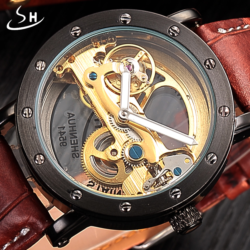 SHENHUA Automatic Mechanical Watch men Top Brand Luxury Leather Stainless Steel Transparent Skeleton Watch Relogio Masculino luxury brand shenhua steampunk transparent skeleton crystal flywheel automatic genuine leather strap dress mens mechanical watch