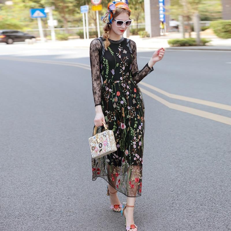 Runway Dresses 2017 Gorgeous Long Sleeves Black Sheer Mesh Lace Floral Embroidery Dress Bohemian Brand Style Vestidos De Festa