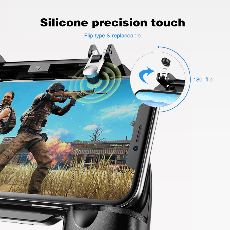 Data Frog Portable Gamepad Mobile Controller with Four Finger Operation Mode and Two Triggers for PUBG 2