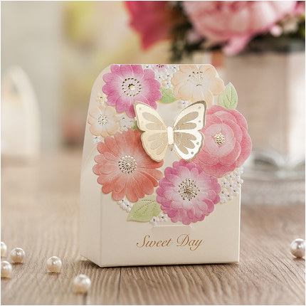 wedding boxes for candy gift bag laser cut butterfly flower bridal shower favor box casamento wedding