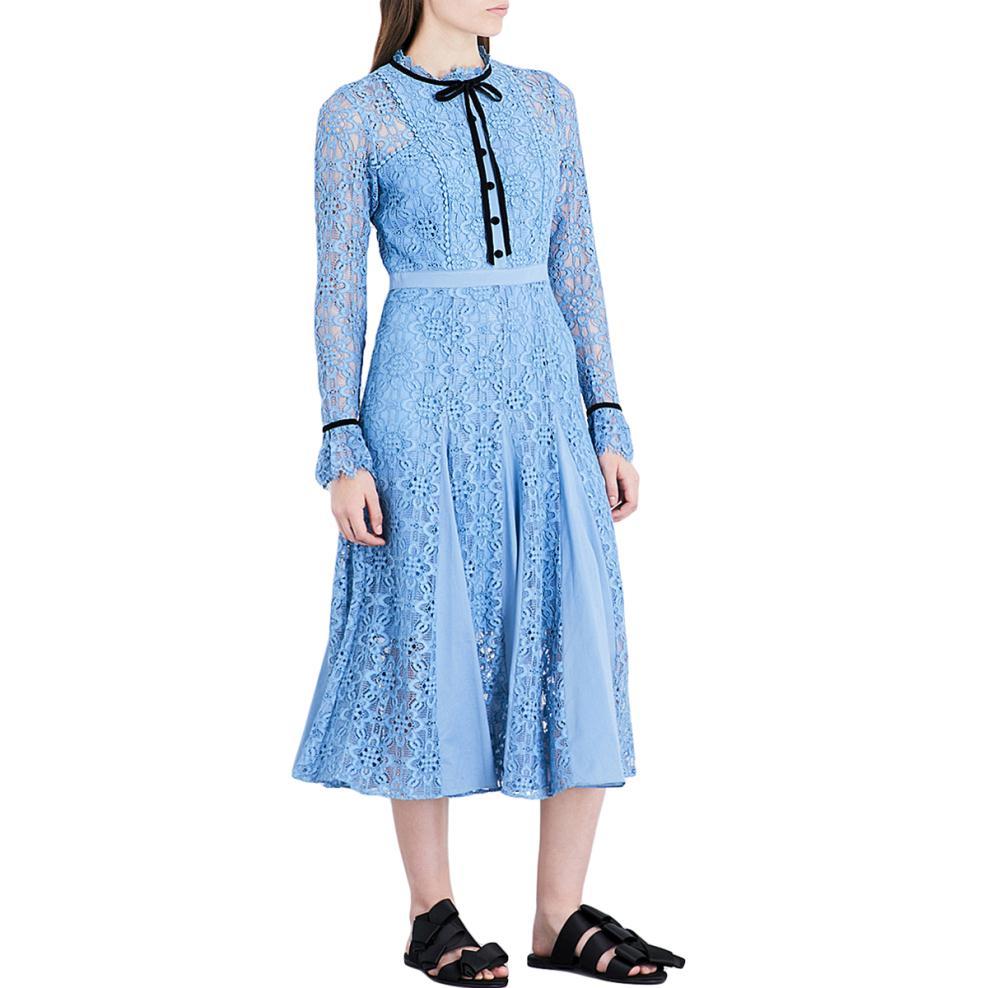 Lace Maxi Dress Women 2018 Spring Summer Dress Long Sleeve Ruffles Celebrity Princess Kate Buttons Up