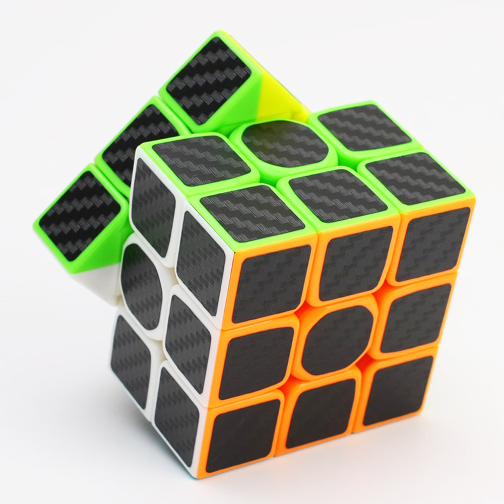 High Quality 3x3x3 Magic Cube Carbon Fiber Sticker Cube Speed Smooth Fidget Magic Cube Learning Educational