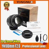 YONGNUO YN100mm objectif F2/F2N AF/MF grande ouverture Standard moyen téléobjectif Prime focale fixe pour Nikon, pour appareil photo Canon