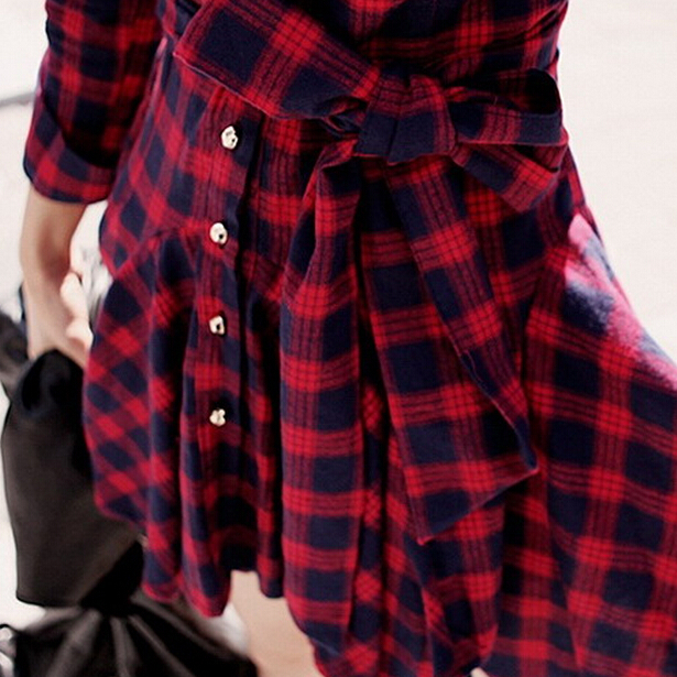 Red Black Plaid Shirt Dress Mini Puff Tunic Long Sleeve Vintage plus ...