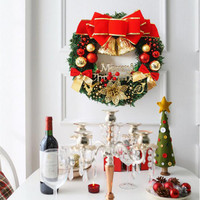 30cm Christmas Large Wreath Door Wall Ornament Garland Decoration Red Bowknot