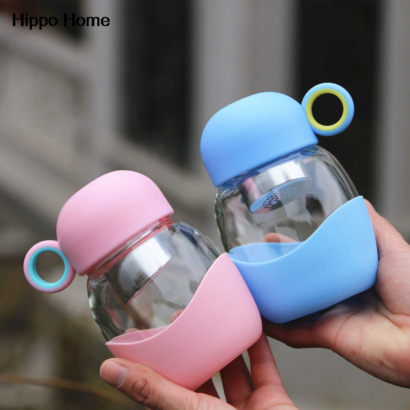 Hipopótamo Casa 350 ml Creativa Botella de Agua de Cristal Con Infusor de Té de