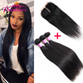 8A Peruvian Virgin Hair with Closure Straight Human Hair 3 Bundles With Closure Soft Virgin Peruvian Straight Hair With Closure