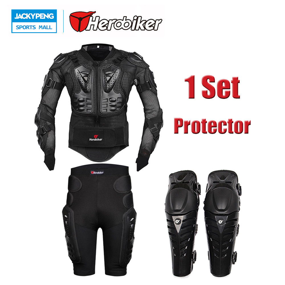 Motorcycle Body Protection Racing Back Support Full Body Armor Jacket + Protective Gear Shorts + Motorbike Knee Pads Protector herobiker black motorcycle racing body armor protective jacket gears short pants motorcycle knee protector moto gloves