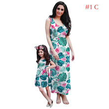 Mother Daughter Dresses Parent-Child Dress Family Dress Mother And Daughter Matching Daughter Costume O-neck Sleeveless New