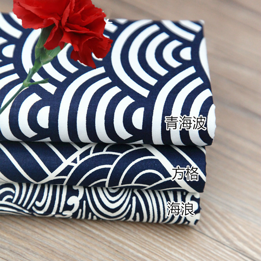50 * 160 cm Tela de Algodón Japonesa Metro Brocado Geométrica Onda Patchwork Edredón Japonesas Textiles Telas Costura Fieltro Tilda