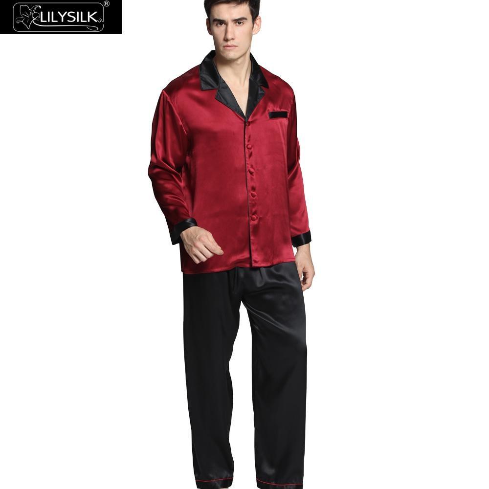 Lilysilk Men's Sleepwear Pajamas Sets Sexy Summer Nightwear Pyjama Pure Chinese Silk Pure 22 Momme Black Cuff Male Wedding Brand