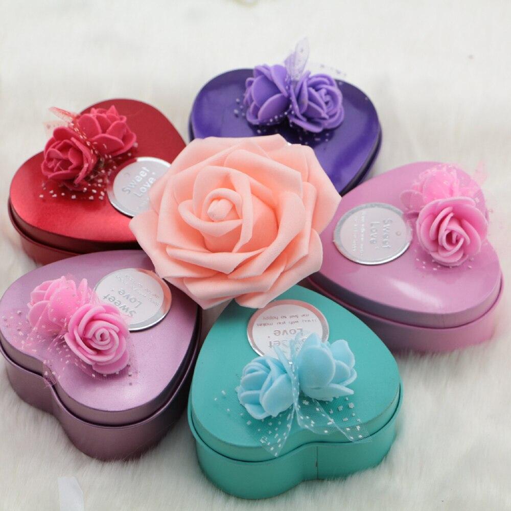 Korean Creative Decoration Gift Rose Flower Tin Box Heart Shape ...