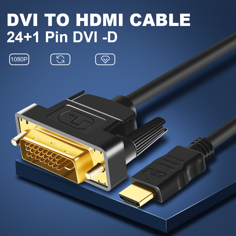 1080P 3D HDMI to DVI HDMI cable 24+1 pin adapter cables for LCD DVD HDTV XBOX High speed DVI hdmi cable 1M 2M 3M 5M