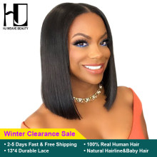 Short Lace Front Human Hair Wigs Brazilian Bob Wig with Pre Plucked Hairline Lace Wig For Black Women Remy Hair Middle Part(China)